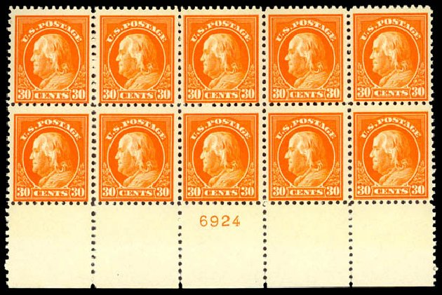 Price of US Stamps Scott Catalogue 516: 1917 30c Franklin Perf 11. Daniel Kelleher Auctions, Dec 2013, Sale 640, Lot 435