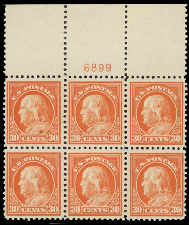 US Stamps Prices Scott Cat. # 516: 30c 1917 Franklin Perf 11. Daniel Kelleher Auctions, May 2015, Sale 669, Lot 3105