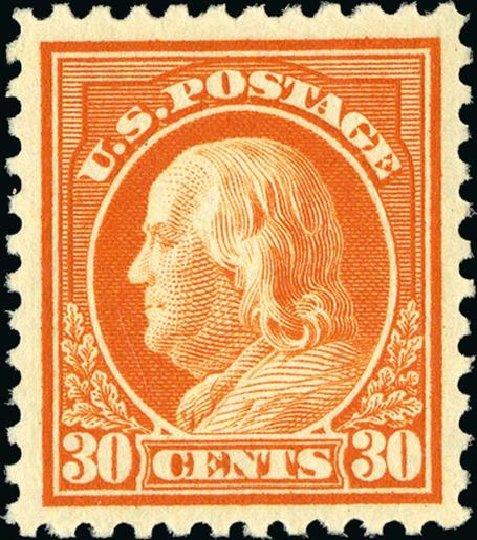 Cost of US Stamp Scott 516: 30c 1917 Franklin Perf 11. Spink Shreves Galleries, Jan 2015, Sale 150, Lot 195