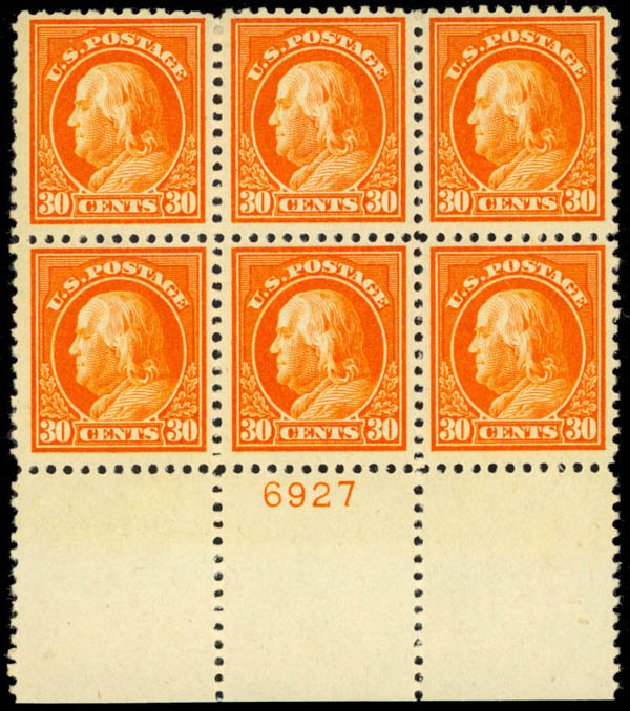 US Stamps Price Scott Cat. # 516 - 30c 1917 Franklin Perf 11. Daniel Kelleher Auctions, Mar 2013, Sale 635, Lot 602