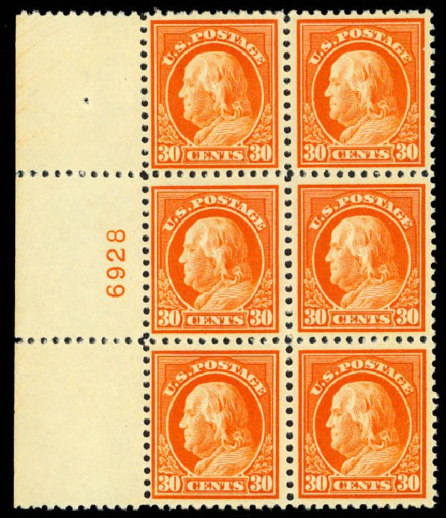 US Stamp Values Scott # 516 - 1917 30c Franklin Perf 11. Daniel Kelleher Auctions, Apr 2013, Sale 636, Lot 392