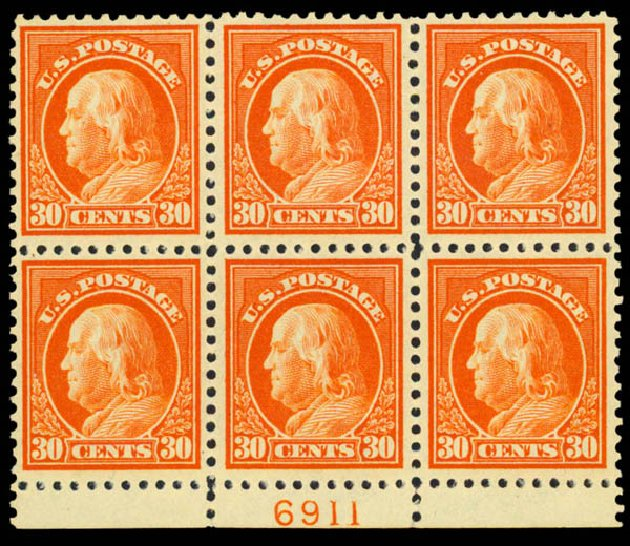 Prices of US Stamps Scott 516: 1917 30c Franklin Perf 11. Daniel Kelleher Auctions, Sep 2013, Sale 639, Lot 3622