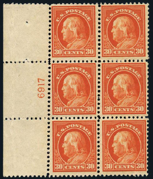 US Stamp Value Scott #516: 30c 1917 Franklin Perf 11. Harmer-Schau Auction Galleries, Oct 2013, Sale 99, Lot 193