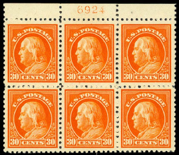 US Stamps Price Scott Cat. 516 - 1917 30c Franklin Perf 11. Daniel Kelleher Auctions, Mar 2013, Sale 635, Lot 603