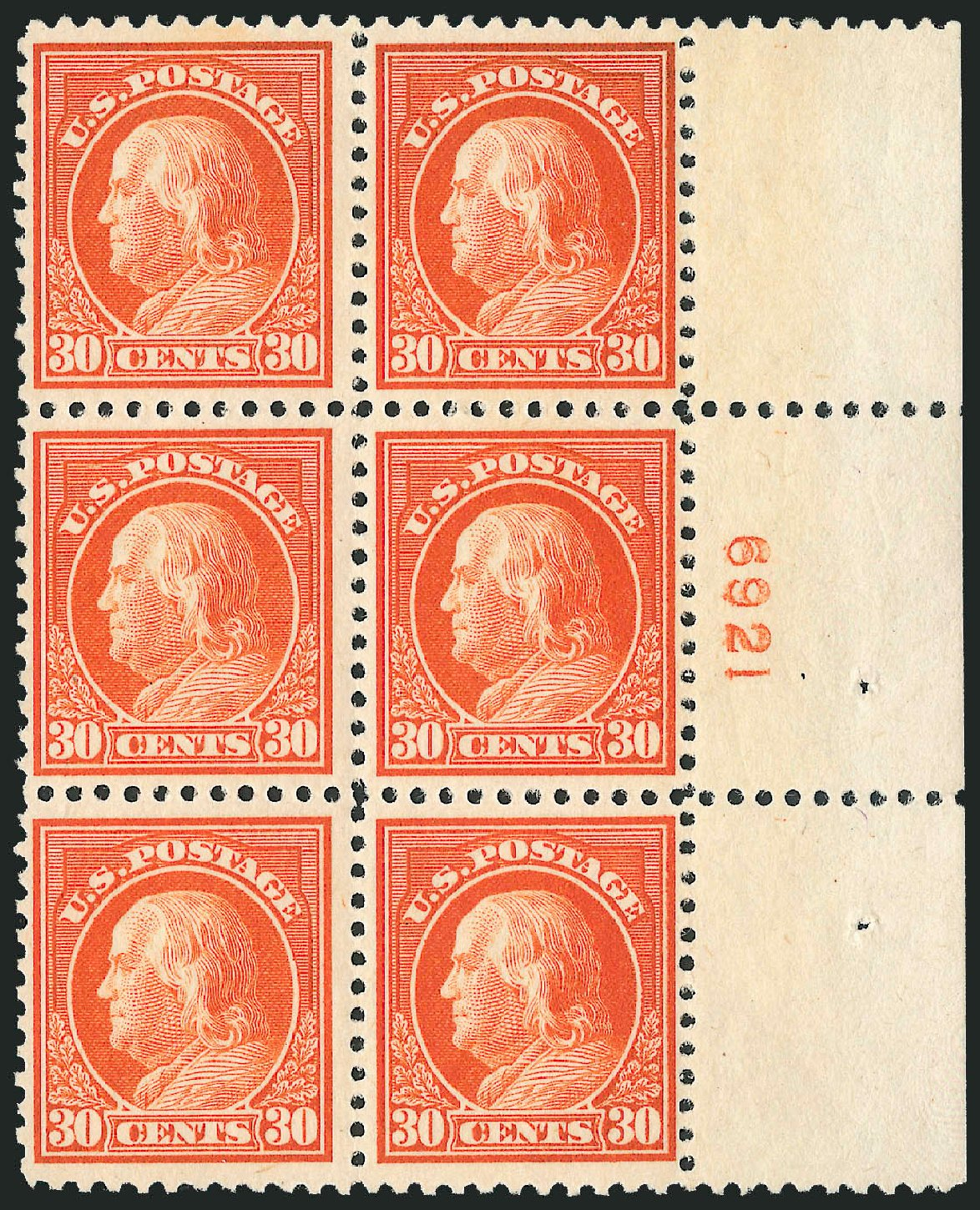 Costs of US Stamp Scott Catalogue #516: 30c 1917 Franklin Perf 11. Robert Siegel Auction Galleries, Jul 2014, Sale 1077, Lot 303