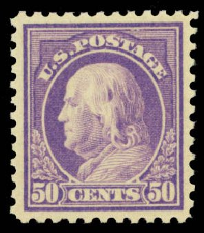 US Stamps Price Scott Cat. #517: 1917 50c Franklin Perf 11. Daniel Kelleher Auctions, Oct 2014, Sale 660, Lot 2410