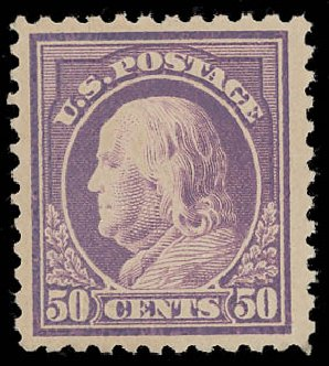 Value of US Stamp Scott Catalog # 517 - 50c 1917 Franklin Perf 11. Daniel Kelleher Auctions, Aug 2015, Sale 672, Lot 2775