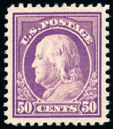 Prices of US Stamps Scott 517: 50c 1917 Franklin Perf 11. Schuyler J. Rumsey Philatelic Auctions, Apr 2015, Sale 60, Lot 2423
