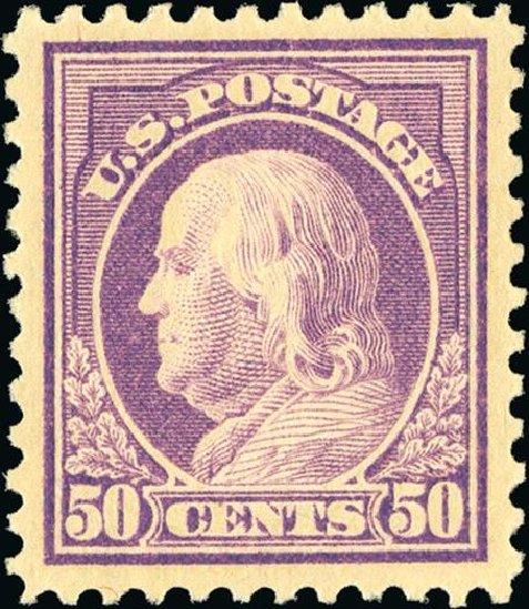 US Stamp Price Scott #517: 50c 1917 Franklin Perf 11. Spink Shreves Galleries, Jan 2015, Sale 150, Lot 196