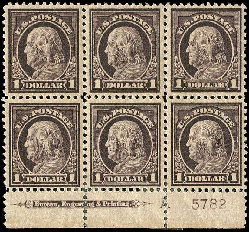 Values of US Stamp Scott #518 - US$1.00 1917 Franklin Perf 11. Regency-Superior, Nov 2014, Sale 108, Lot 1337