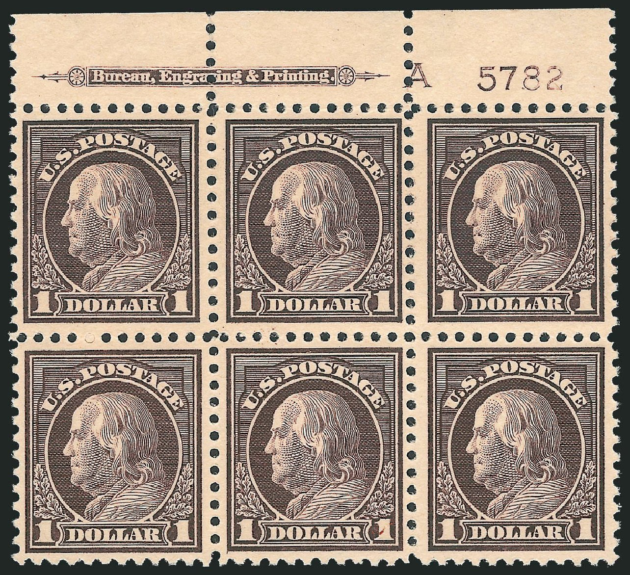 Price of US Stamps Scott Catalogue # 518 - US$1.00 1917 Franklin Perf 11. Robert Siegel Auction Galleries, Nov 2013, Sale 1061, Lot 3977