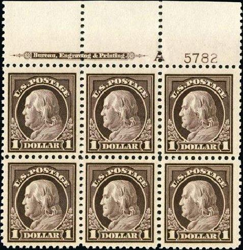 Cost of US Stamps Scott Catalog #518 - 1917 US$1.00 Franklin Perf 11. Spink Shreves Galleries, Jan 2015, Sale 150, Lot 197