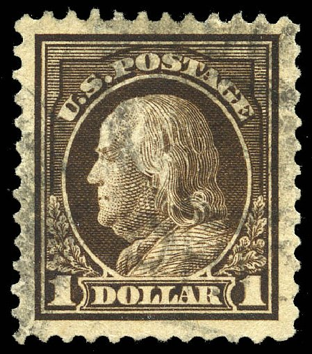 Values of US Stamps Scott Catalog # 518 - US$1.00 1917 Franklin Perf 11. Matthew Bennett International, May 2014, Sale 350, Lot 648