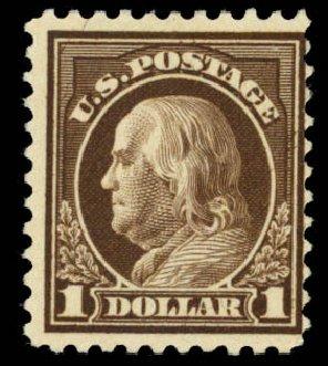 Value of US Stamp Scott Catalogue 518 - 1917 US$1.00 Franklin Perf 11. Daniel Kelleher Auctions, Sep 2014, Sale 655, Lot 561