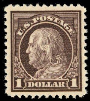 US Stamps Price Scott Catalog #518: US$1.00 1917 Franklin Perf 11. Daniel Kelleher Auctions, Oct 2014, Sale 660, Lot 2411