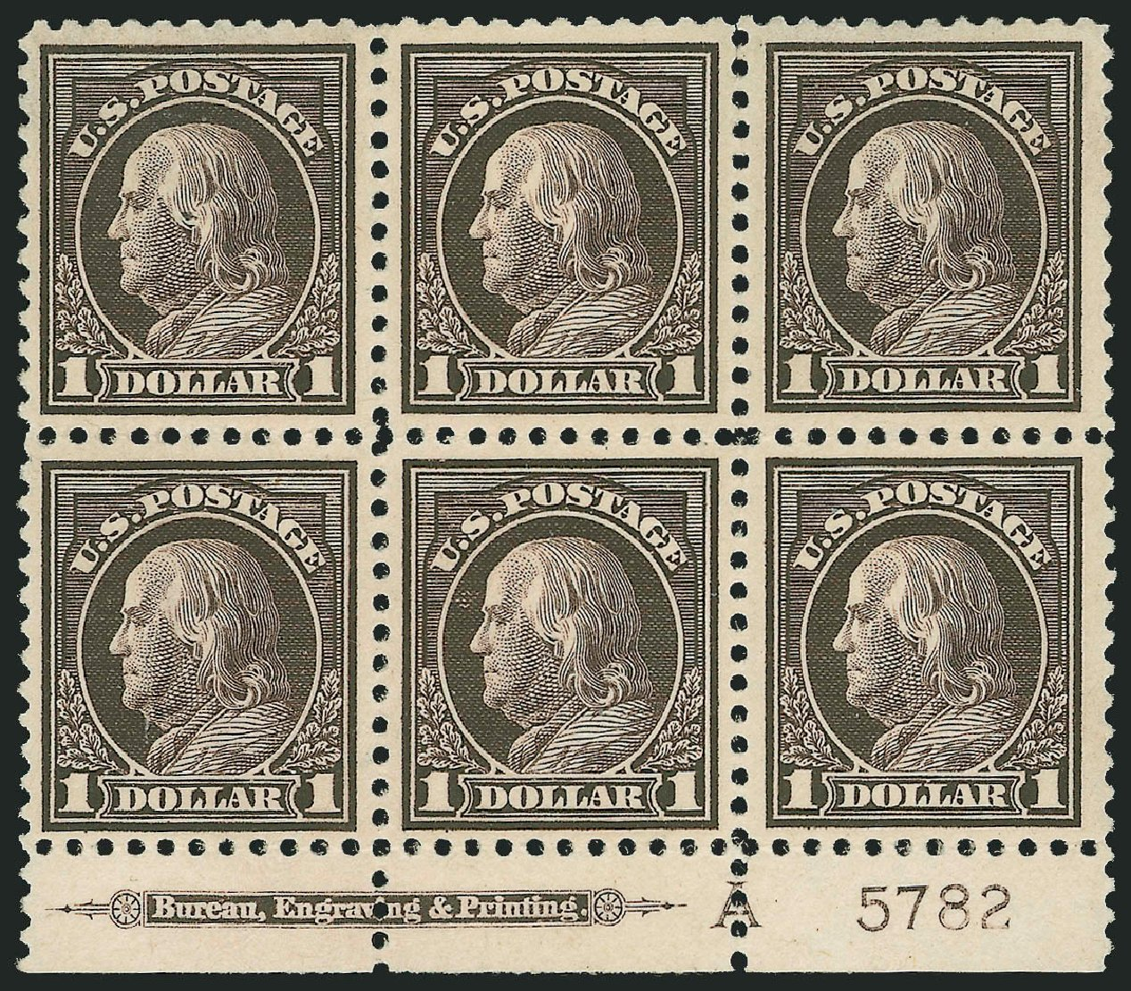Price of US Stamp Scott Catalog 518 - 1917 US$1.00 Franklin Perf 11. Robert Siegel Auction Galleries, Mar 2014, Sale 1067, Lot 1591