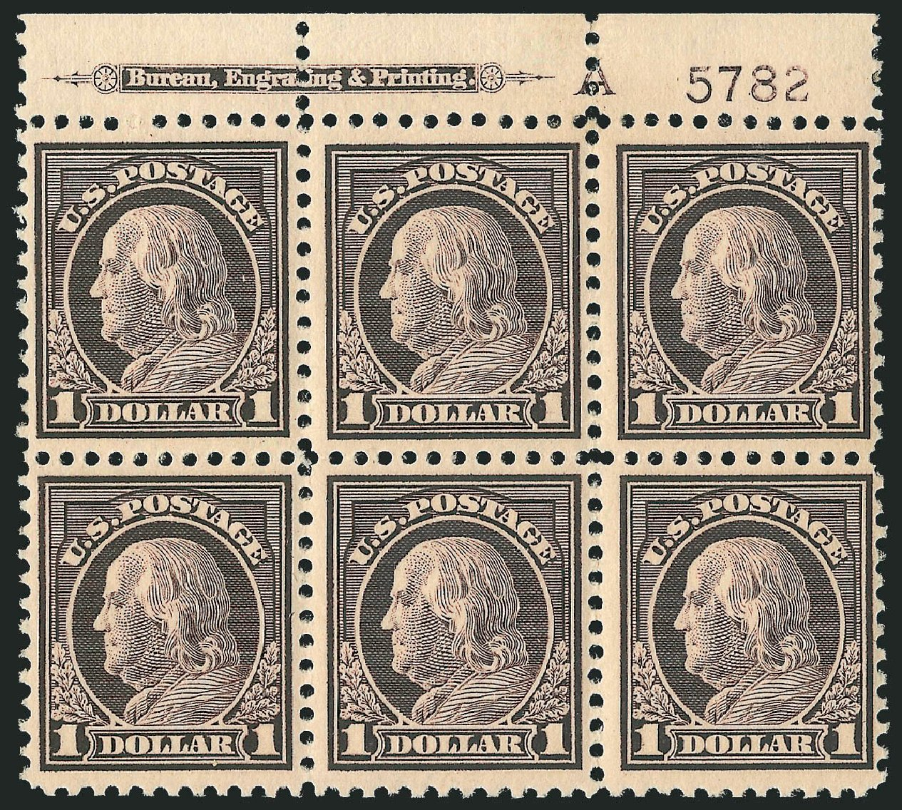 Costs of US Stamps Scott Catalogue # 518 - 1917 US$1.00 Franklin Perf 11. Robert Siegel Auction Galleries, Sep 2014, Sale 1078, Lot 571