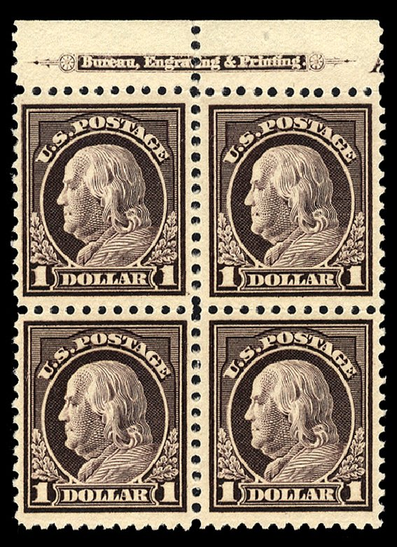 US Stamp Prices Scott Catalogue 518 - 1917 US$1.00 Franklin Perf 11. Cherrystone Auctions, Mar 2014, Sale 201403, Lot 54