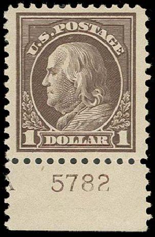 US Stamps Values Scott Cat. 518 - US$1.00 1917 Franklin Perf 11. H.R. Harmer, Oct 2014, Sale 3006, Lot 1394