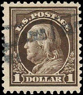 Values of US Stamp Scott 518 - US$1.00 1917 Franklin Perf 11. Regency-Superior, Jan 2015, Sale 109, Lot 1294
