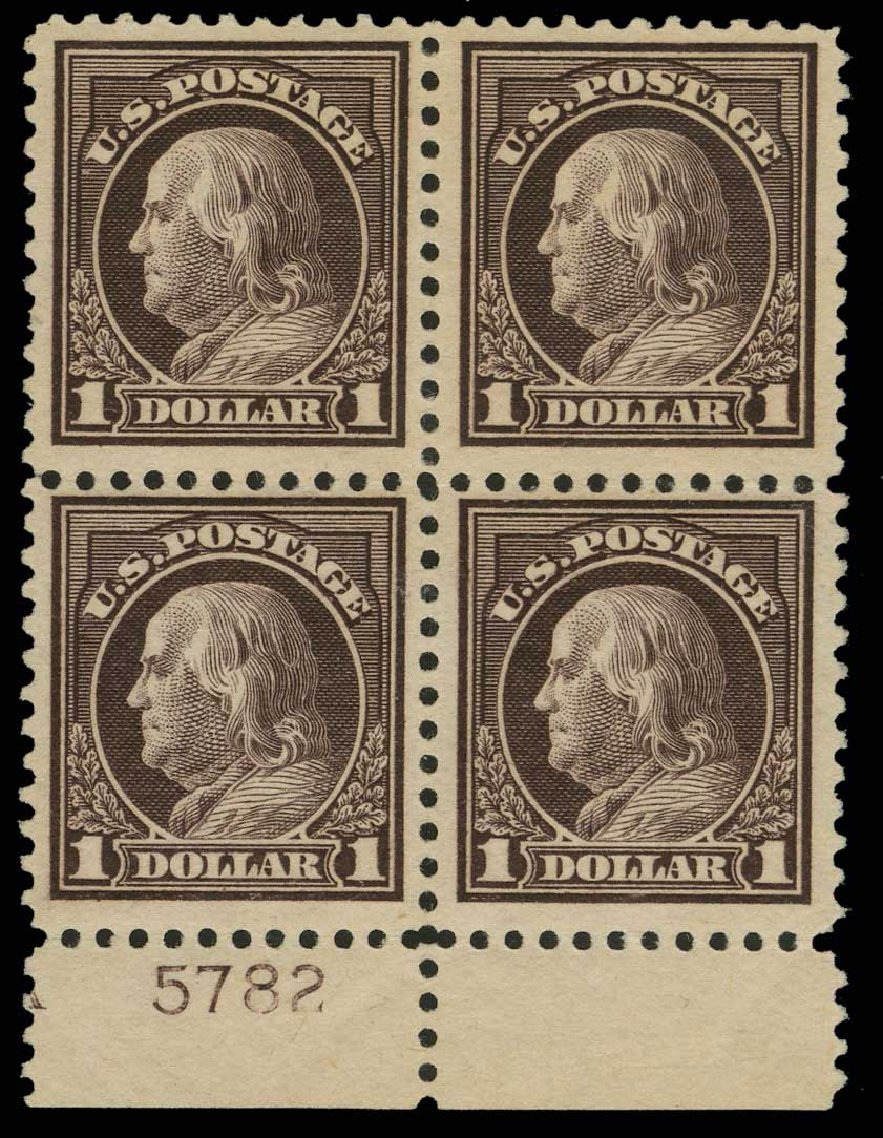 Values of US Stamp Scott Catalog 518: 1917 US$1.00 Franklin Perf 11. H.R. Harmer, May 2014, Sale 3005, Lot 1295