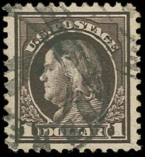 US Stamps Value Scott # 518: US$1.00 1917 Franklin Perf 11. H.R. Harmer, Oct 2014, Sale 3006, Lot 1395