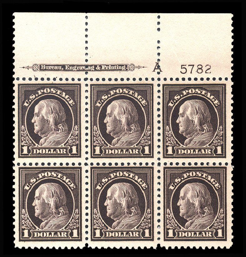 Costs of US Stamp Scott Catalog 518: US$1.00 1917 Franklin Perf 11. Cherrystone Auctions, Mar 2014, Sale 201403, Lot 53