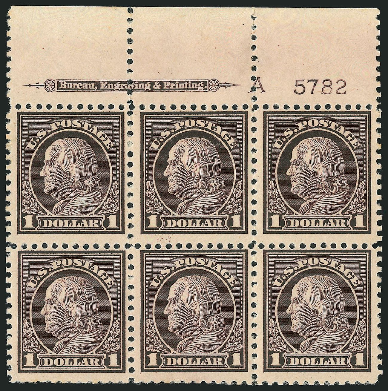 US Stamps Prices Scott Cat. #518: US$1.00 1917 Franklin Perf 11. Robert Siegel Auction Galleries, Mar 2014, Sale 1067, Lot 1593