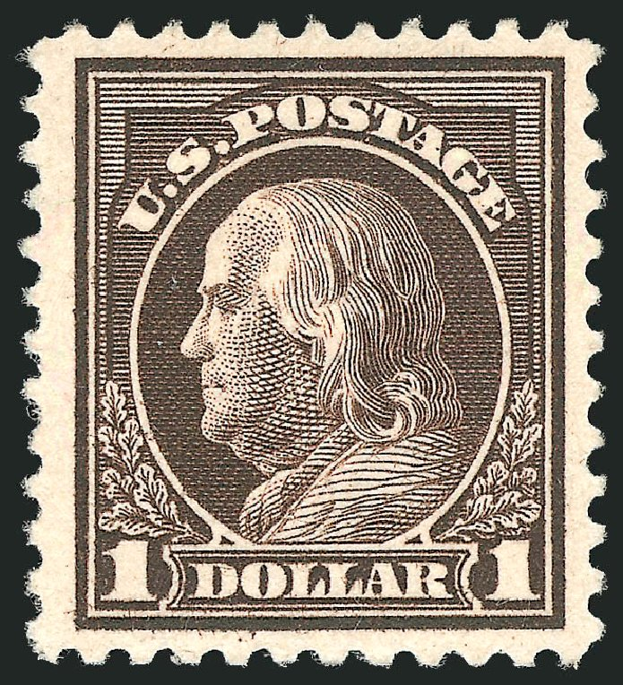Price of US Stamp Scott 518: 1917 US$1.00 Franklin Perf 11. Robert Siegel Auction Galleries, Apr 2014, Sale 1068, Lot 303