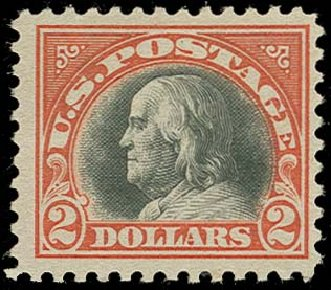 Cost of US Stamp Scott Catalog # 523 - US$2.00 1918 Franklin Perf 11. H.R. Harmer, Oct 2014, Sale 3006, Lot 1397