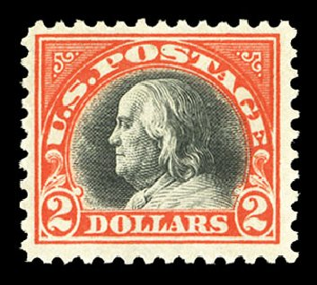 US Stamp Prices Scott Catalogue # 523 - US$2.00 1918 Franklin Perf 11. Cherrystone Auctions, Jul 2015, Sale 201507, Lot 2169