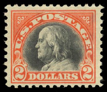 US Stamps Prices Scott Catalogue #523: 1918 US$2.00 Franklin Perf 11. Daniel Kelleher Auctions, Aug 2015, Sale 672, Lot 2779