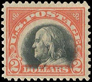 Costs of US Stamp Scott Cat. # 523: 1918 US$2.00 Franklin Perf 11. Regency-Superior, Jan 2015, Sale 109, Lot 1299