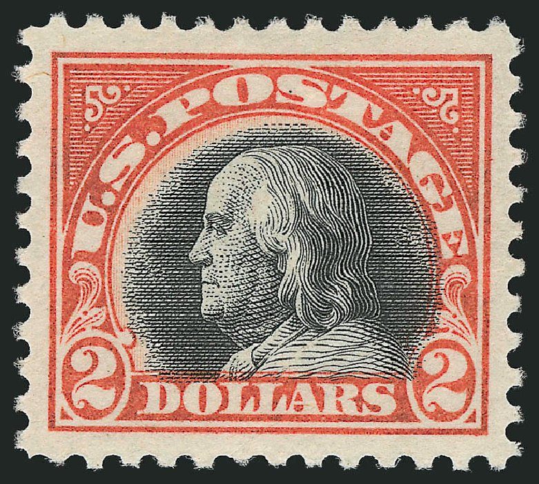 Values of US Stamp Scott Catalog # 523: US$2.00 1918 Franklin Perf 11. Robert Siegel Auction Galleries, Feb 2015, Sale 1093, Lot 484