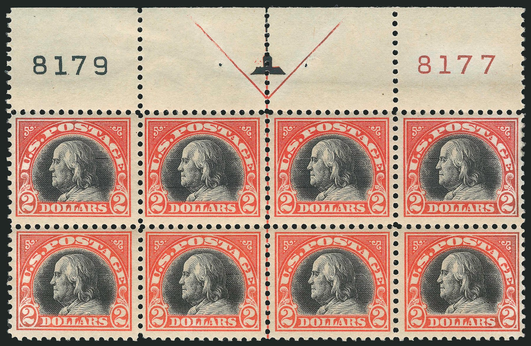Value of US Stamp Scott Cat. 523: US$2.00 1918 Franklin Perf 11. Robert Siegel Auction Galleries, Feb 2015, Sale 1093, Lot 485