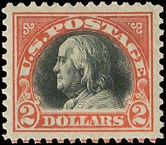 US Stamp Value Scott Catalog #523 - US$2.00 1918 Franklin Perf 11. Regency-Superior, Nov 2014, Sale 108, Lot 932