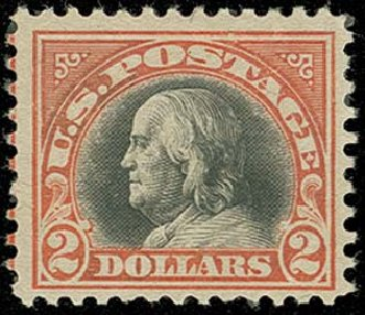 Values of US Stamps Scott Cat. #523 - US$2.00 1918 Franklin Perf 11. H.R. Harmer, Oct 2014, Sale 3006, Lot 1396