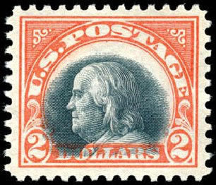 Value of US Stamps Scott # 523 - 1918 US$2.00 Franklin Perf 11. Schuyler J. Rumsey Philatelic Auctions, Apr 2015, Sale 60, Lot 2426