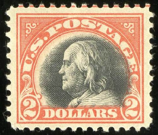 Prices of US Stamps Scott Catalog # 523: 1918 US$2.00 Franklin Perf 11. Spink Shreves Galleries, Jul 2015, Sale 151, Lot 316