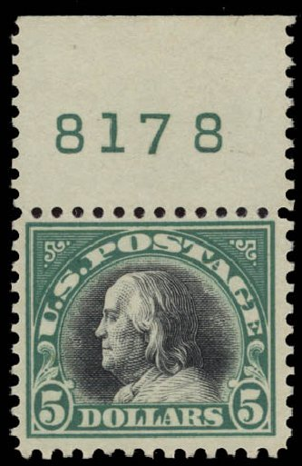 US Stamp Price Scott 524 - US$5.00 1918 Franklin Perf 11. Daniel Kelleher Auctions, May 2015, Sale 669, Lot 3117
