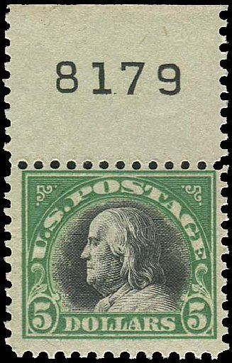 US Stamp Values Scott Catalogue 524: 1918 US$5.00 Franklin Perf 11. Regency-Superior, Aug 2015, Sale 112, Lot 917