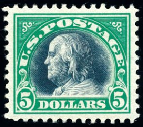 US Stamp Price Scott Catalogue #524: 1918 US$5.00 Franklin Perf 11. Schuyler J. Rumsey Philatelic Auctions, Apr 2015, Sale 60, Lot 2427