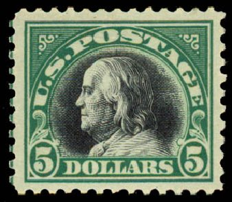 Cost of US Stamp Scott Cat. 524 - 1918 US$5.00 Franklin Perf 11. Daniel Kelleher Auctions, May 2015, Sale 669, Lot 3118