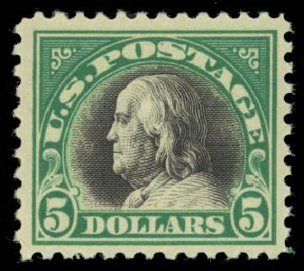 Value of US Stamps Scott Cat. #524: US$5.00 1918 Franklin Perf 11. Daniel Kelleher Auctions, May 2015, Sale 669, Lot 3119