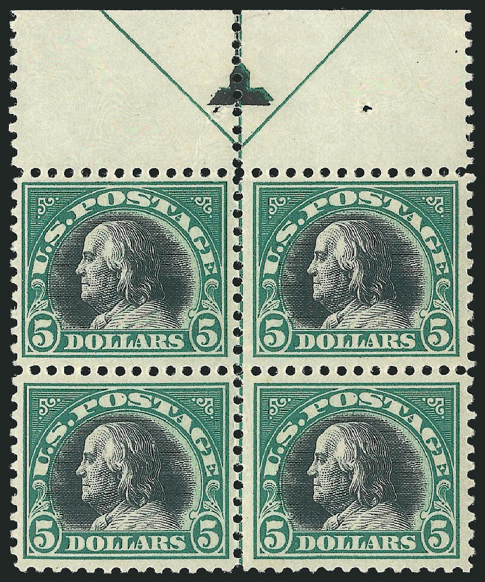 Values of US Stamps Scott Catalog #524: US$5.00 1918 Franklin Perf 11. Robert Siegel Auction Galleries, Apr 2015, Sale 1096, Lot 760