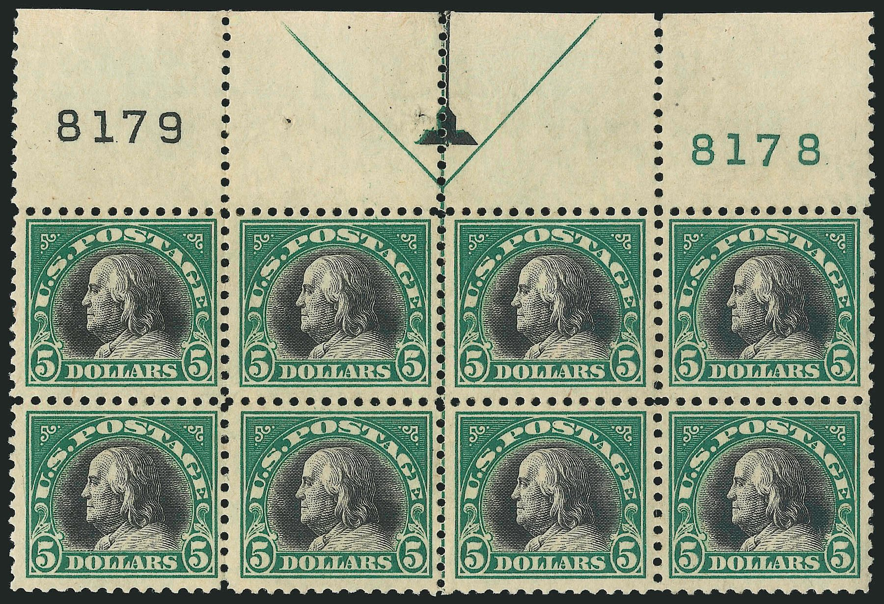 US Stamp Prices Scott #524: US$5.00 1918 Franklin Perf 11. Robert Siegel Auction Galleries, Apr 2015, Sale 1096, Lot 761