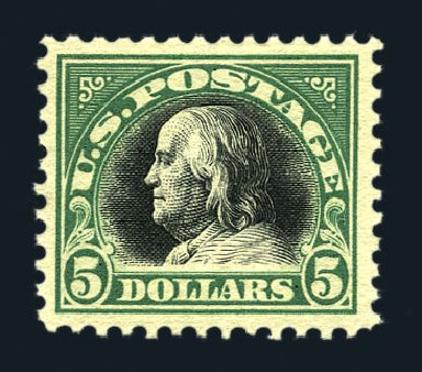 US Stamps Values Scott Cat. 524: US$5.00 1918 Franklin Perf 11. Harmer-Schau Auction Galleries, Aug 2015, Sale 106, Lot 1864