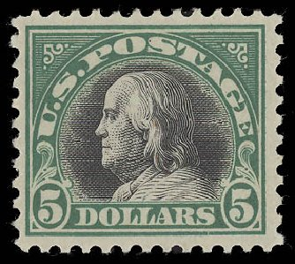Costs of US Stamp Scott Catalogue #524: 1918 US$5.00 Franklin Perf 11. Daniel Kelleher Auctions, Aug 2015, Sale 672, Lot 2784