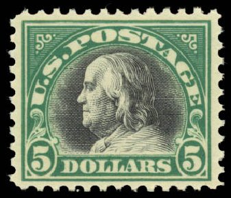 Price of US Stamp Scott Catalogue # 524: 1918 US$5.00 Franklin Perf 11. Daniel Kelleher Auctions, Aug 2015, Sale 672, Lot 2782