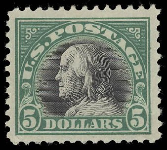 US Stamp Values Scott Catalog # 524: US$5.00 1918 Franklin Perf 11. Daniel Kelleher Auctions, Aug 2015, Sale 672, Lot 2783